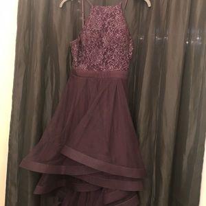 Frock type dress. Dark purple